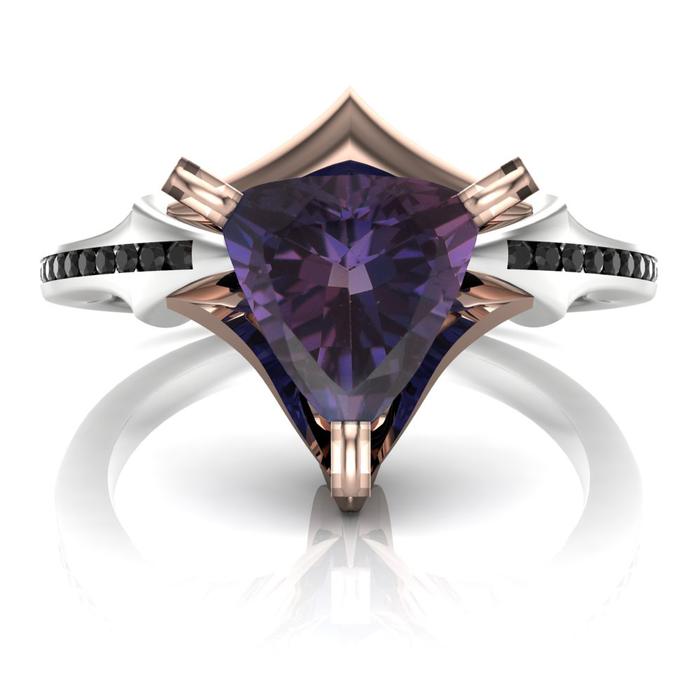 Purple Sapphire Engagement Ring | Viking Trillion
