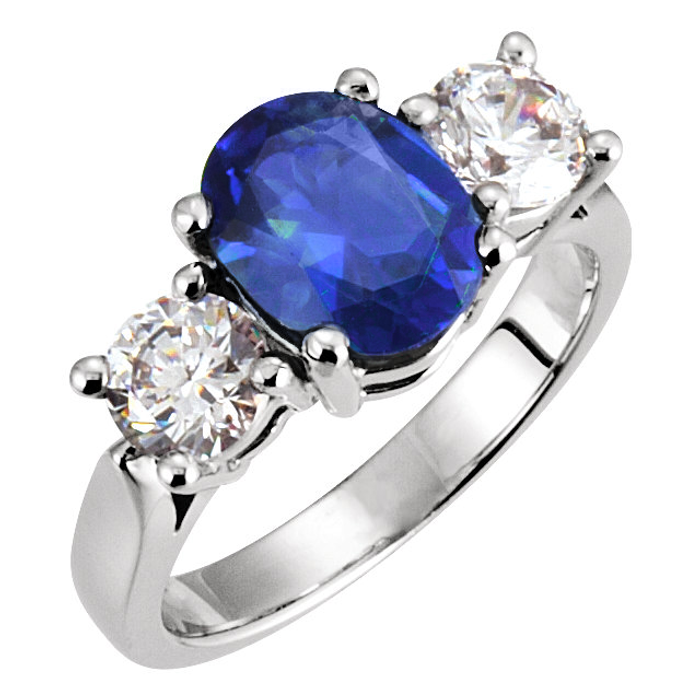CUSTOMIZED ENGAGEMENT RING for L & K: BLUE and WHITE LAB SAPPHIRE ENGAGEMENT RING