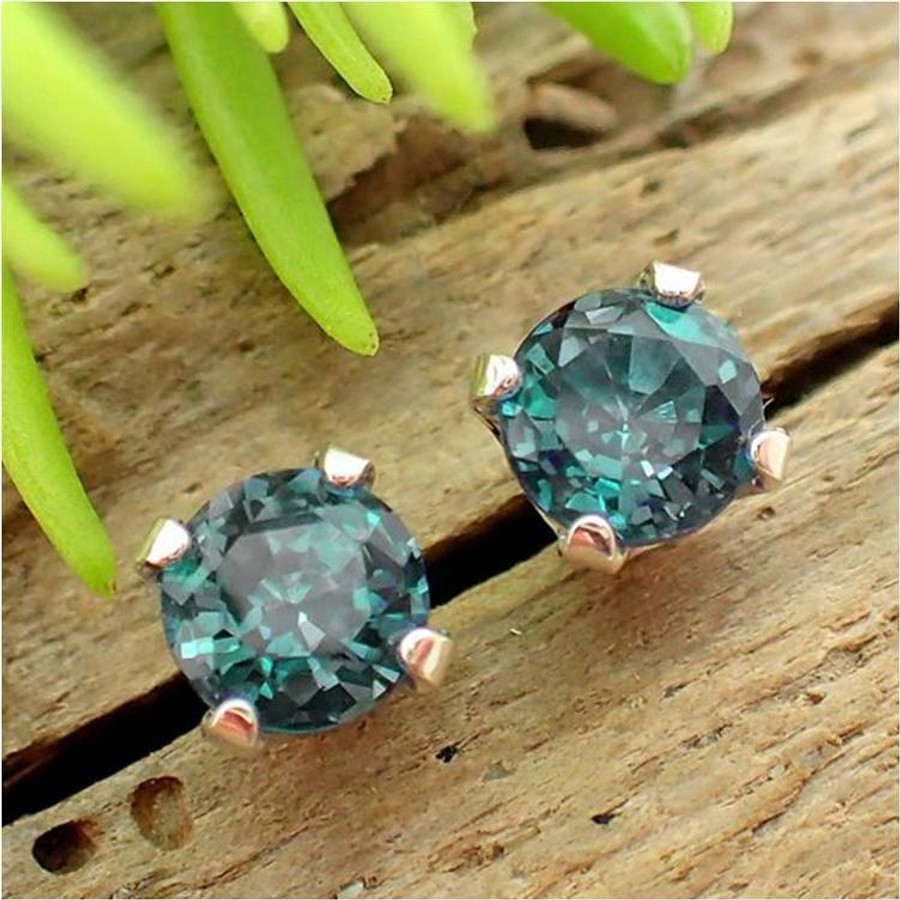 gold earrings round prong ea white stud alexandrite martini lab ct