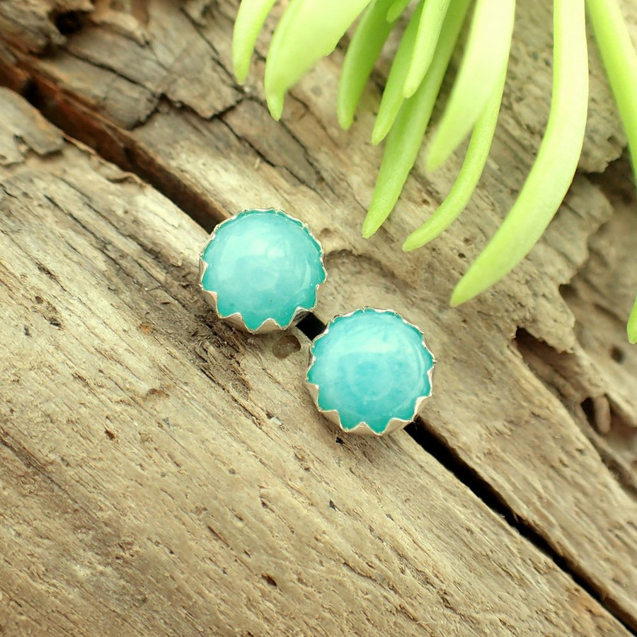 Amazonite cabochon stud earrings