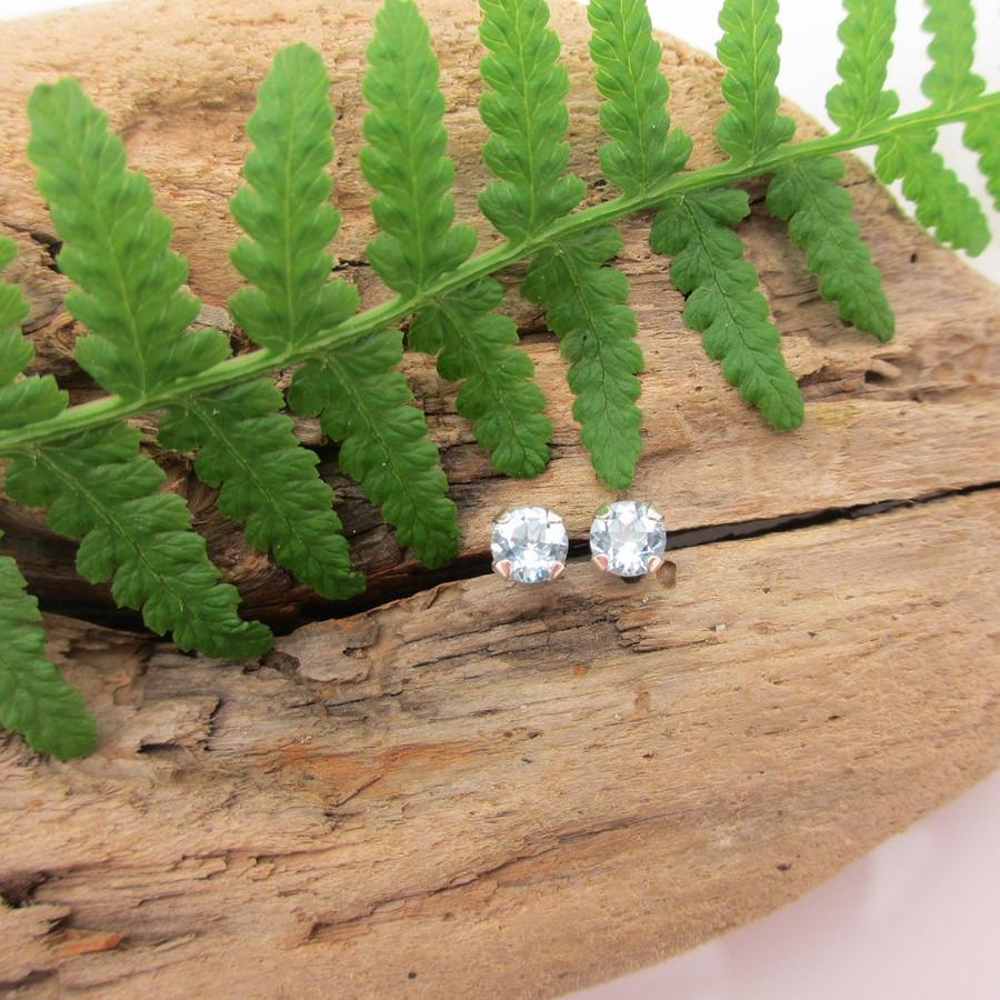 Aquamarine gemstone stud earrings