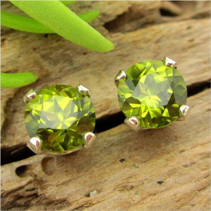 stud jewellery gold white oval stone coloured earrings peridot thumb