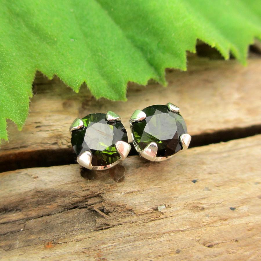 Black Green Tourmaline Stud Earrings