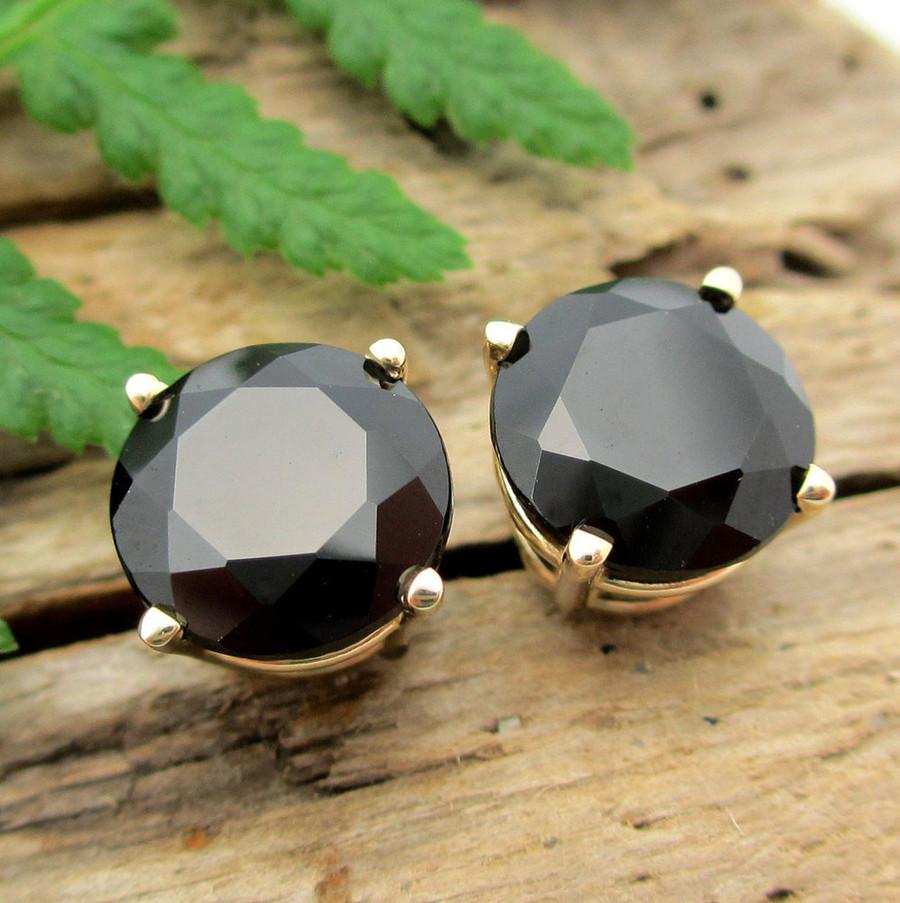 Black Spinel Studs   14k Gold, Platinum, Sterling Silver Earrings