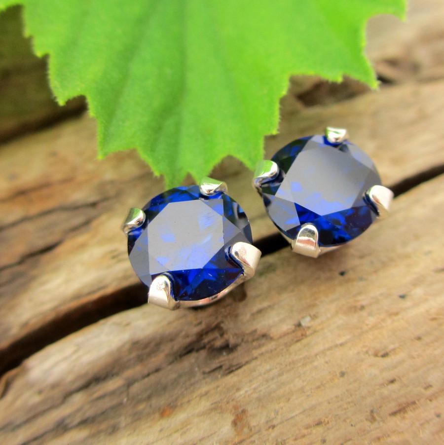 Blue Sapphire Stud Earrings | Lab Grown
