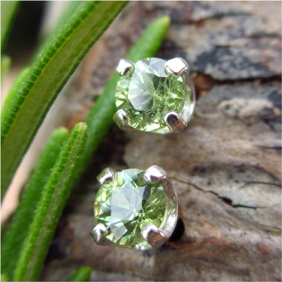 Demantoid Garnet Stud Earrings