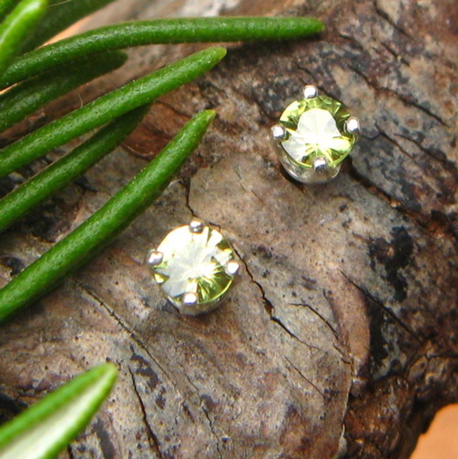 Green Sapphire Stud Earrings