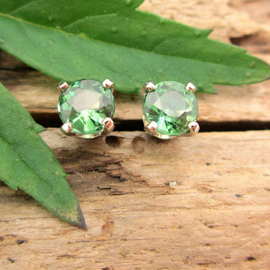 Medium Green Tourmaline Stud Earrings, Limited Edition