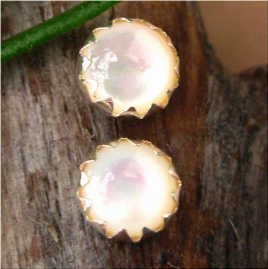 Mother of Pearl Cabochon Stud Earrings