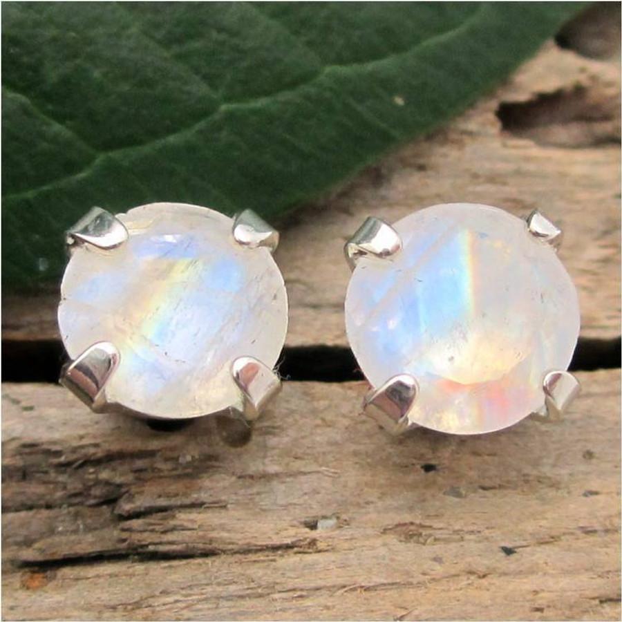 Rainbow Moonstone Stud Earrings