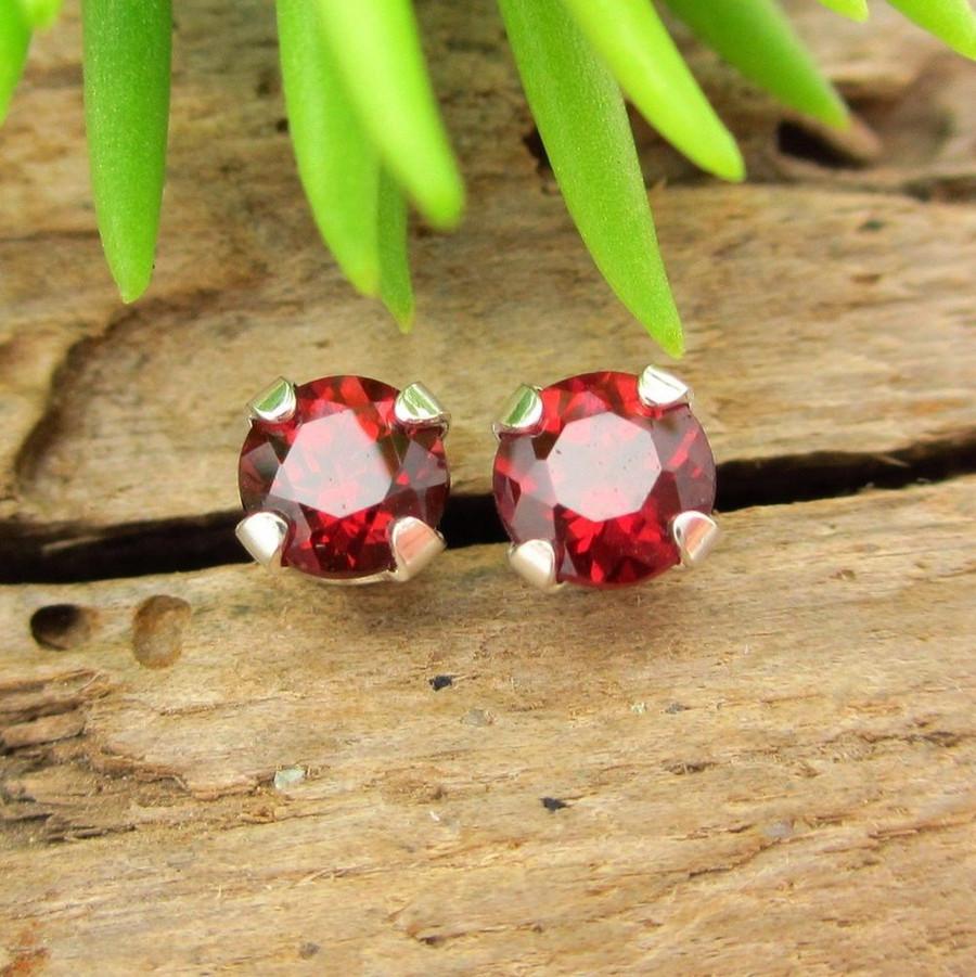 Red Garnet Stud Earrings   Ruby Red