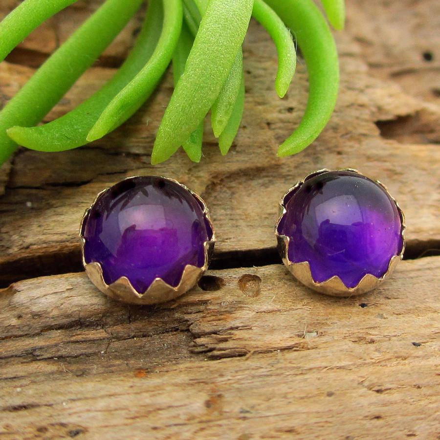Amethyst cabochon stud earrings, deep purple