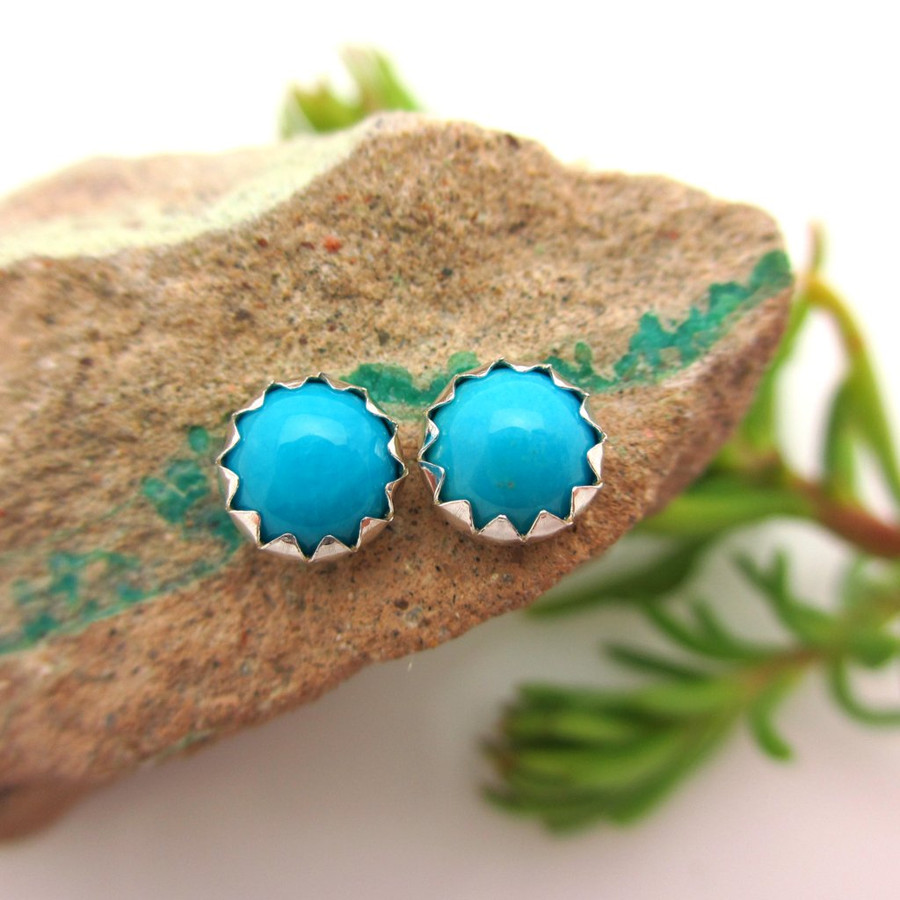 Sleeping Beauty Turquoise Stud Earrings