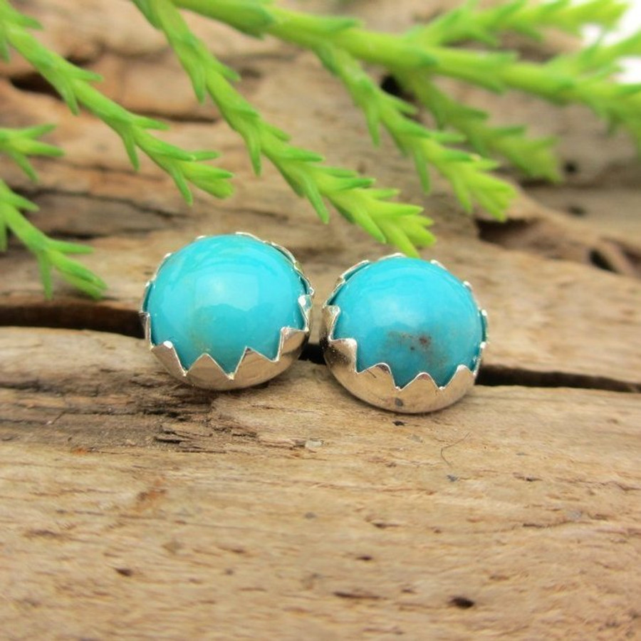 Turquoise Cabochon Stud Earrings | Nacozari