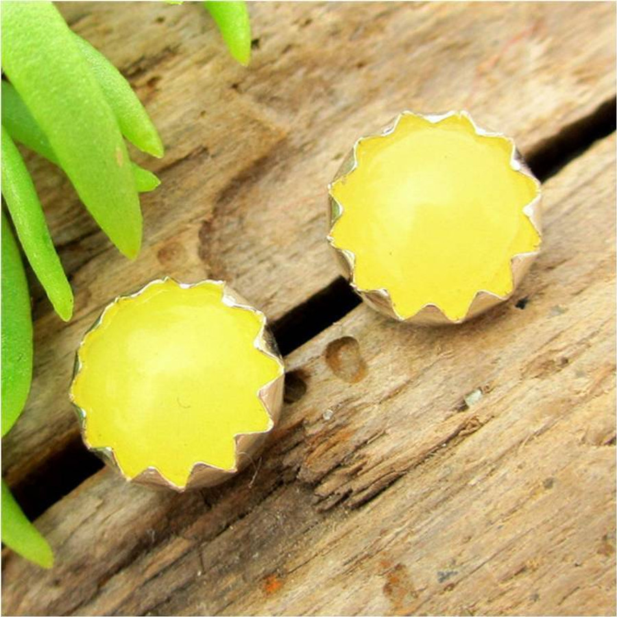 Yellow Chalcedony Cabochon Stud Earrings