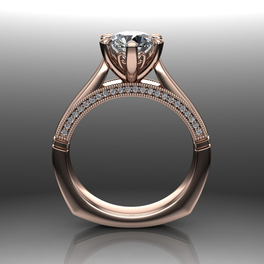 Diamond Engagement Ring | 1 Carat Round | Bold, Modern front view