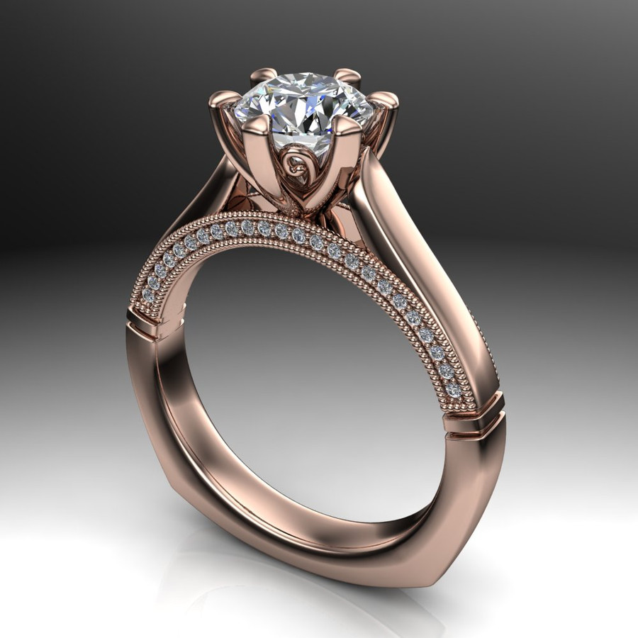 Diamond Engagement Ring | 1 Carat Round | Bold, Modern angled view