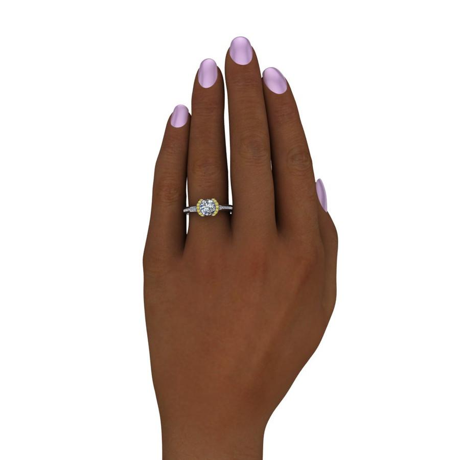 Yellow Half Halo Engagement Ring  Round 1ct Diamond