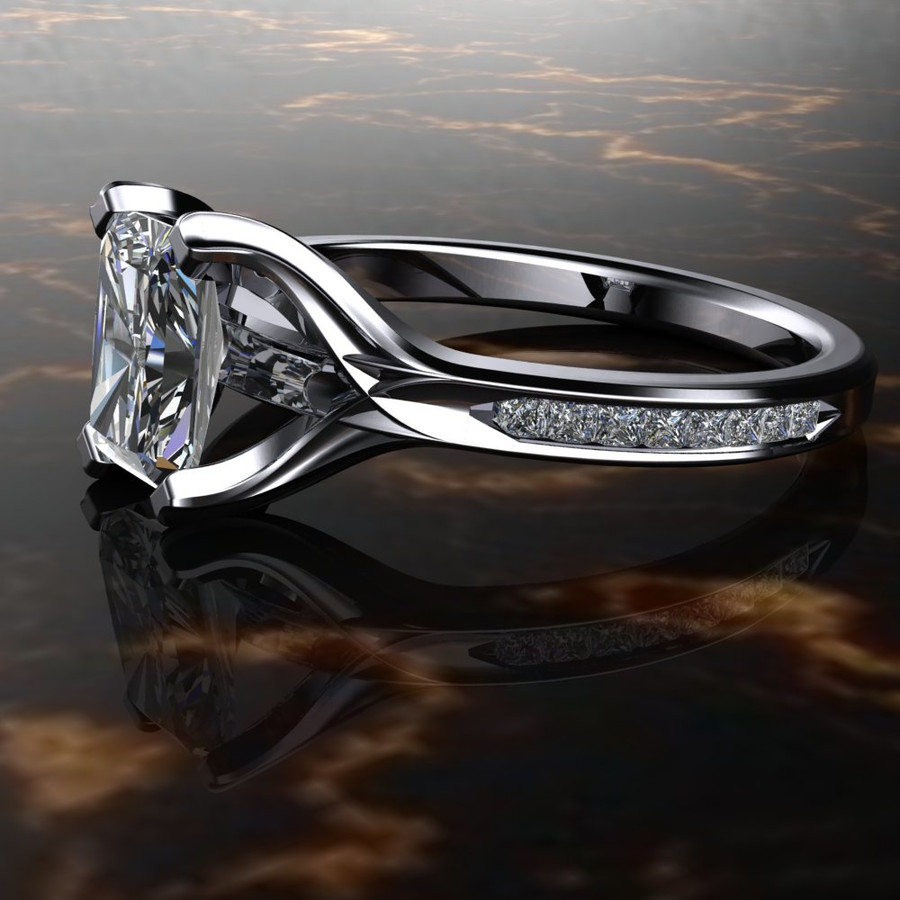 Emerald Cut Diamond Engagement Ring 1ct Accented
