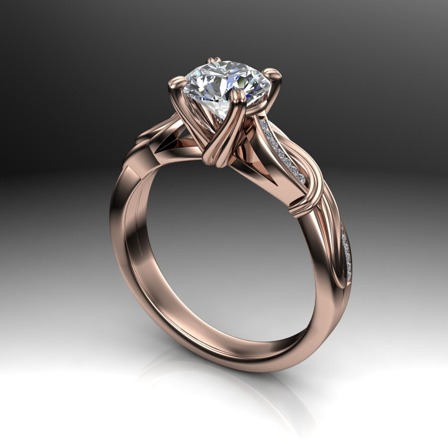 Asymmetrical Swirl Engagement Ring