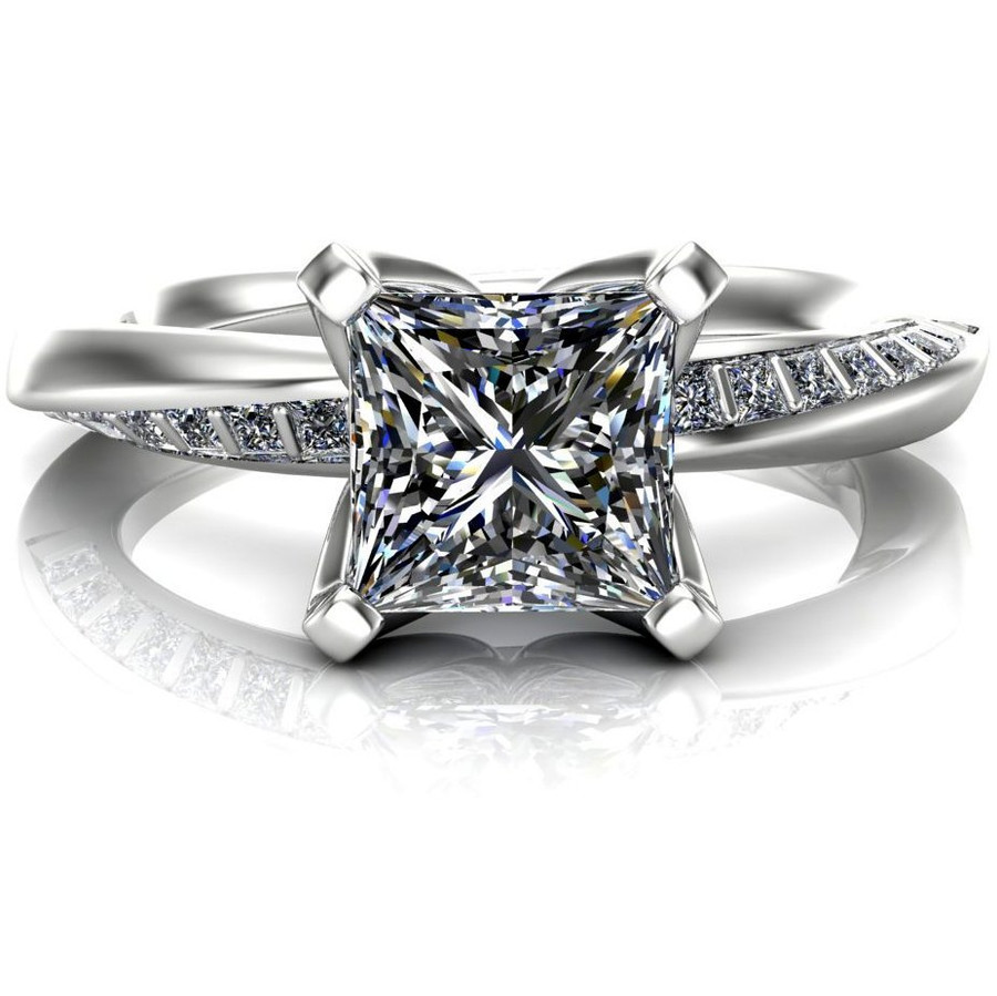 Mobius Twist & Sparkle Engagement Ring | Princess 1ct Diamond