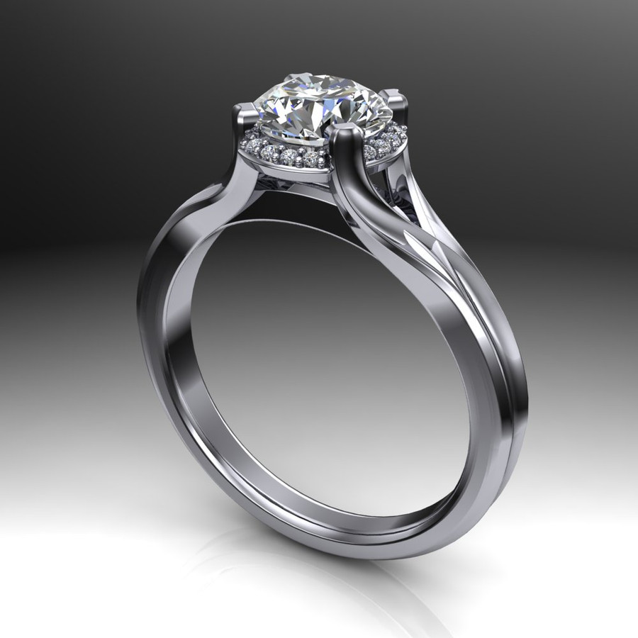Unique Modern Halo Engagement Ring