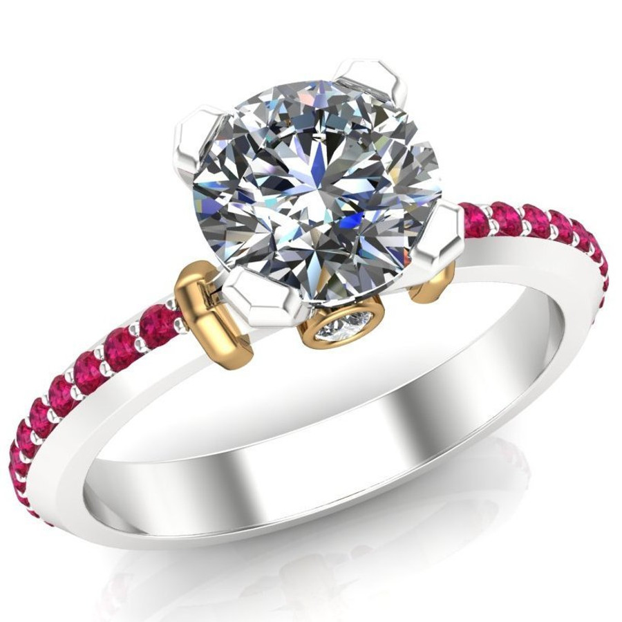 Ruby Accented Engagement Ring | Round 1 Carat Diamond