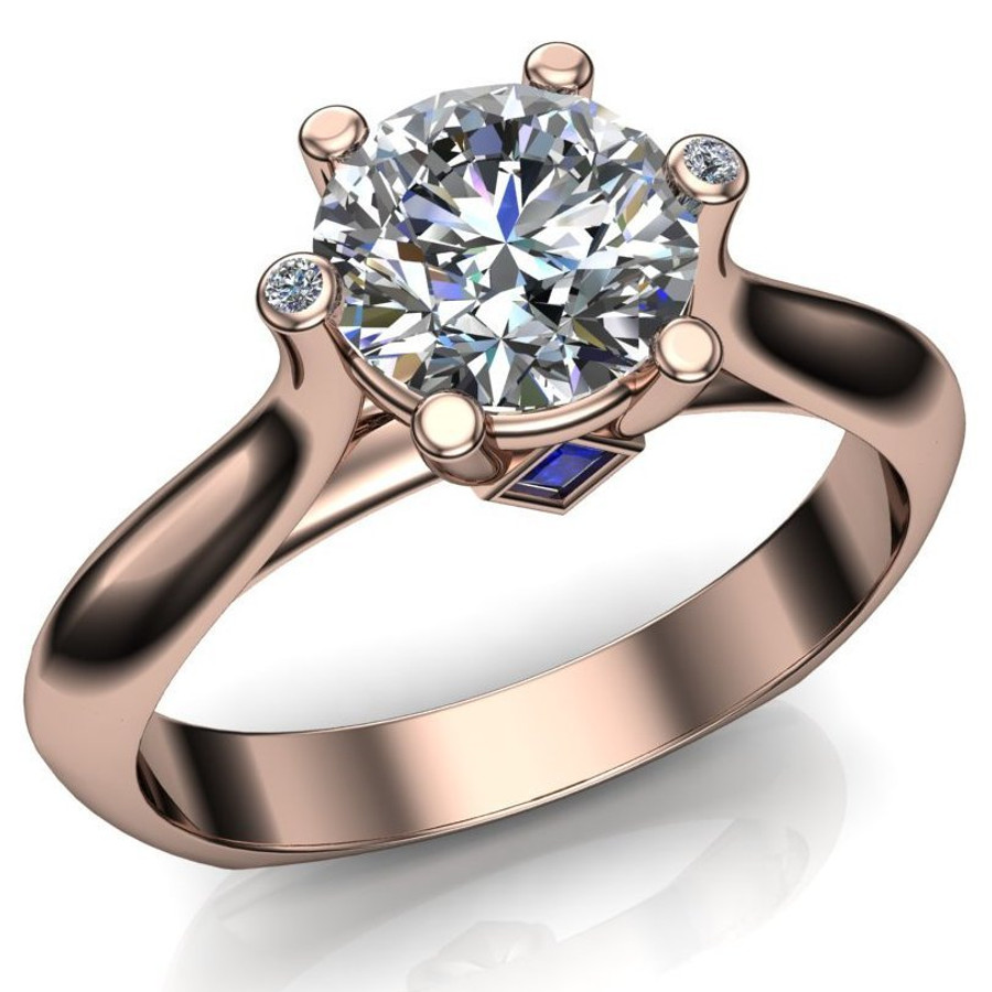Diamond Engagement Ring, 1 ct Diamond with Blue Sapphires and Diamond Prongs overhead view