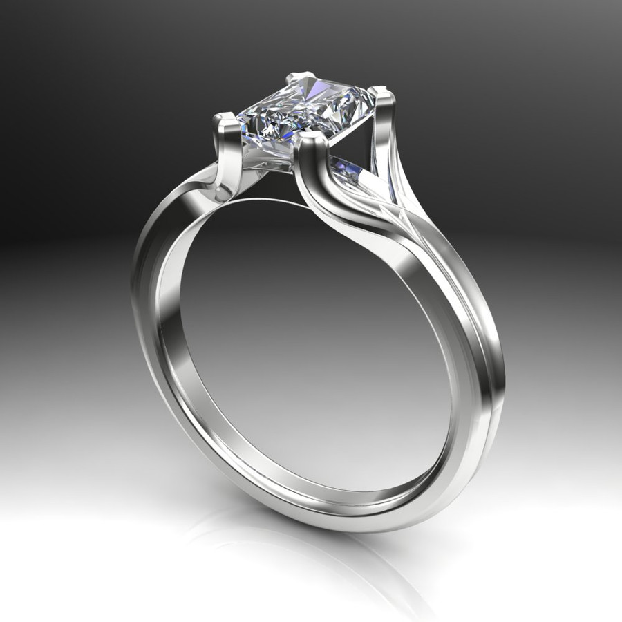 Emerald Cut Diamond Engagement Ring 1ct