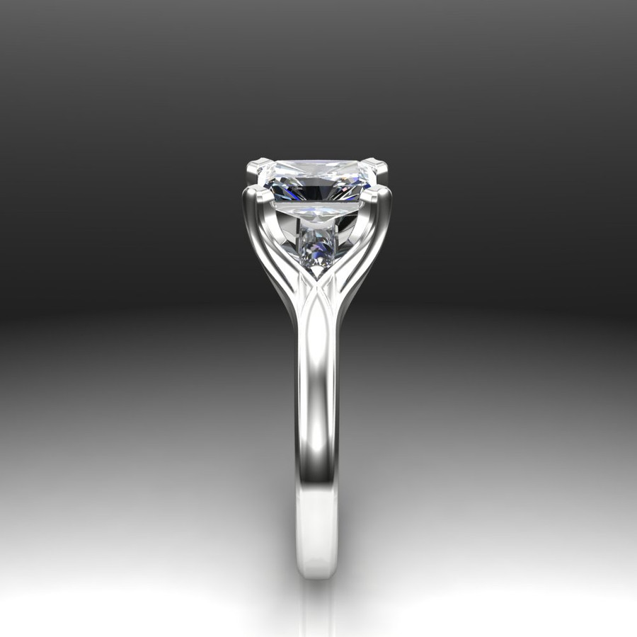 Architect X Emerald Cut Diamond Engagement Ring .8ct