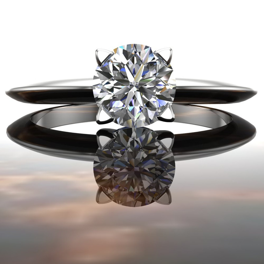 Solitaire Edge Engagement Ring | Round 1/2 Carat Diamond