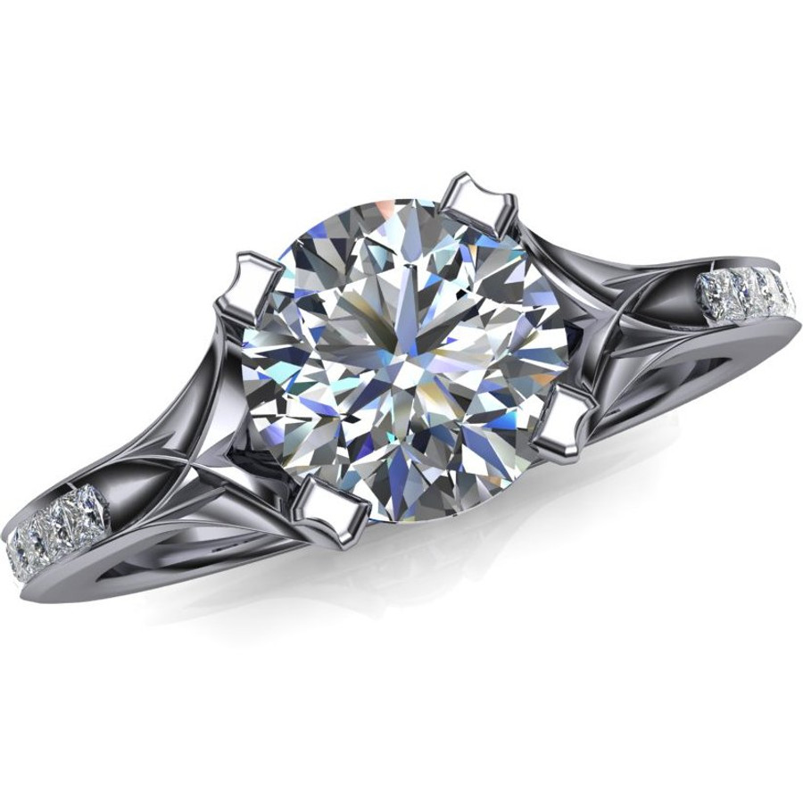 Dramatic architectural 1 carat diamond engagement ring accented