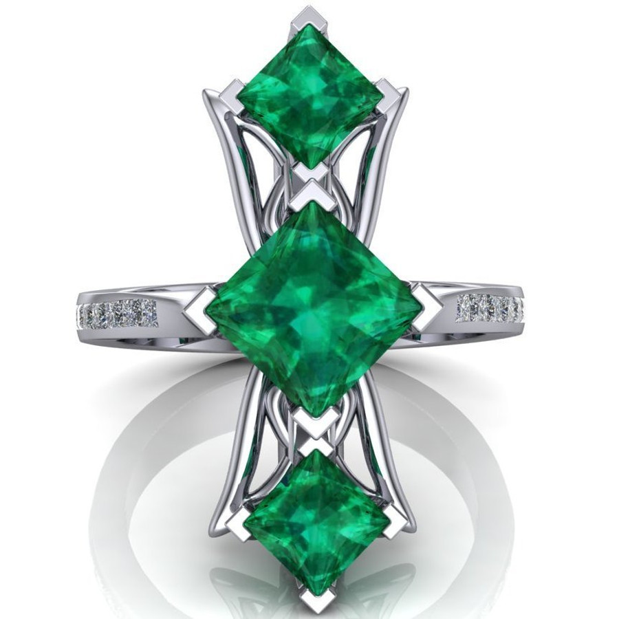 Red Carpet Royalty Art Ring | Princess Cut Emeralds