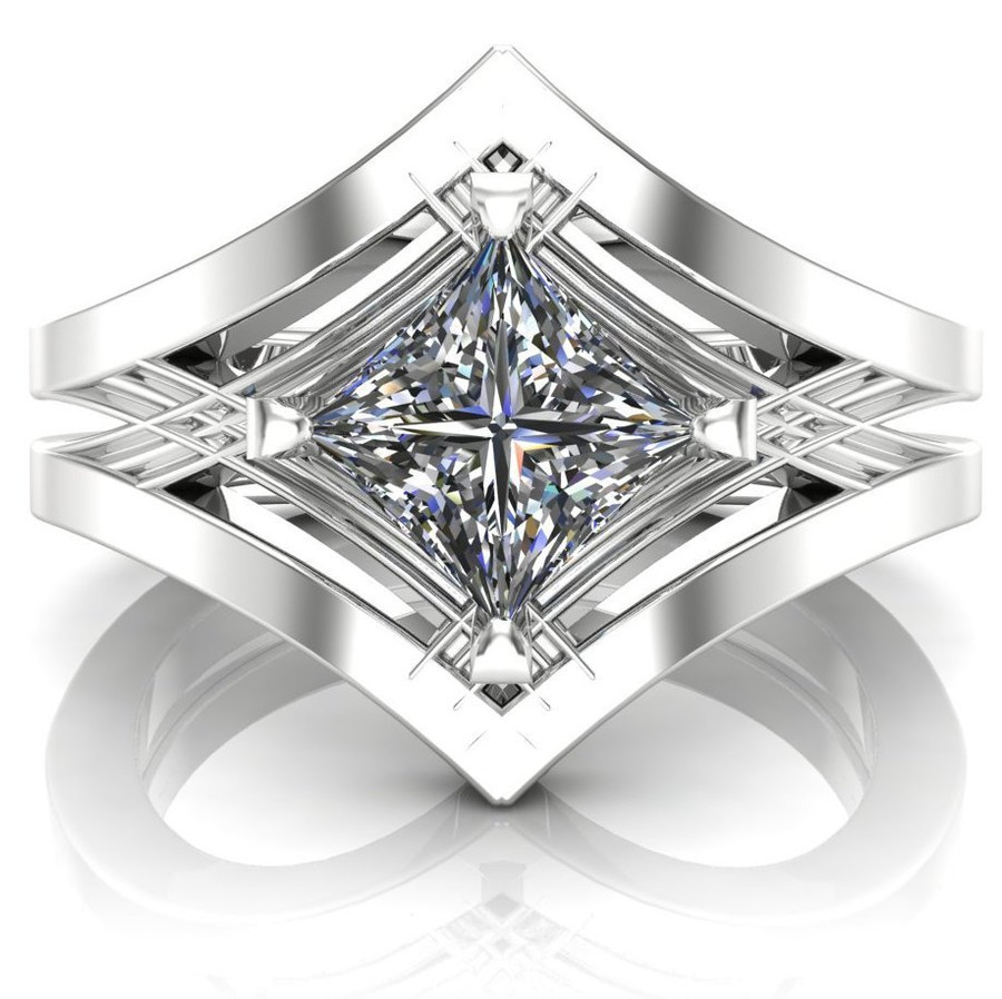 Art Deco Ancient Geometry Engagement Ring | Square .7ct Diamond