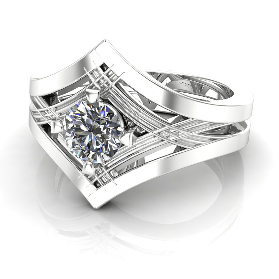 Dramatic art deco diamond engagement ring