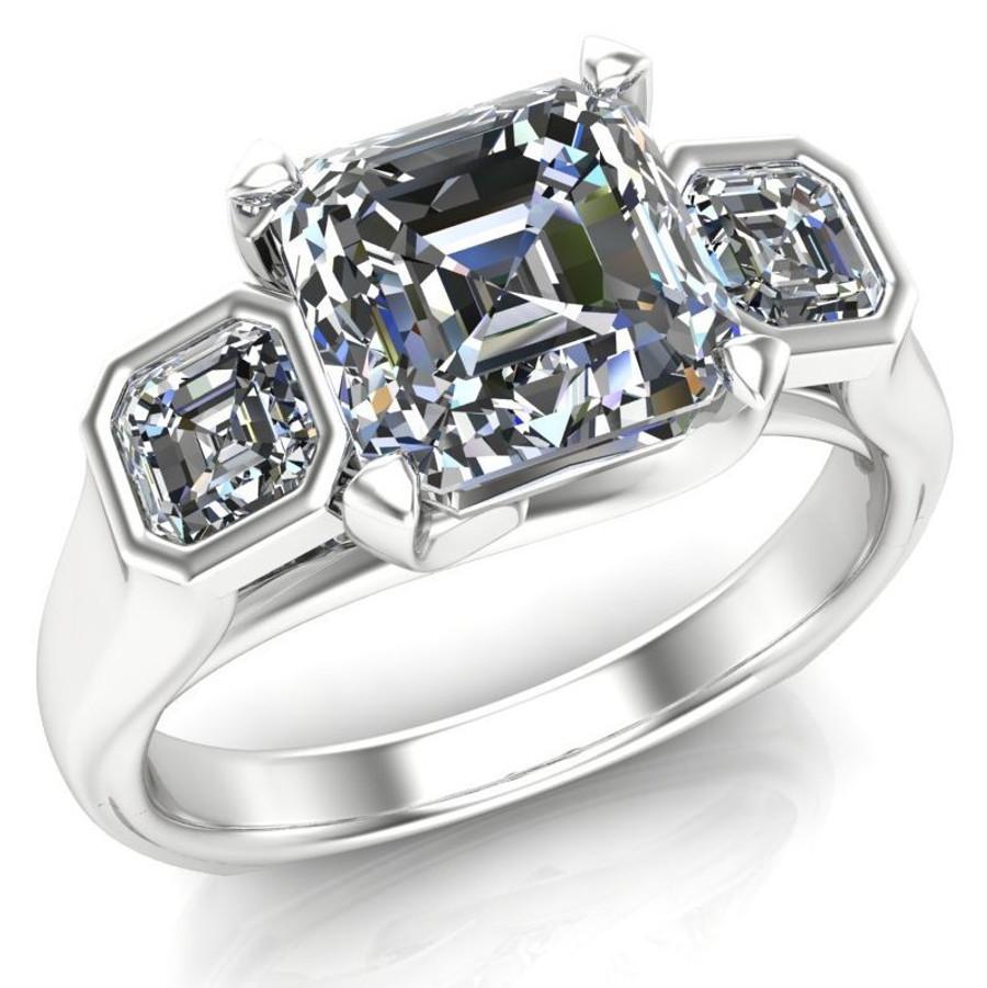 Power of Three Engagement Ring | Asscher 2ct Diamond