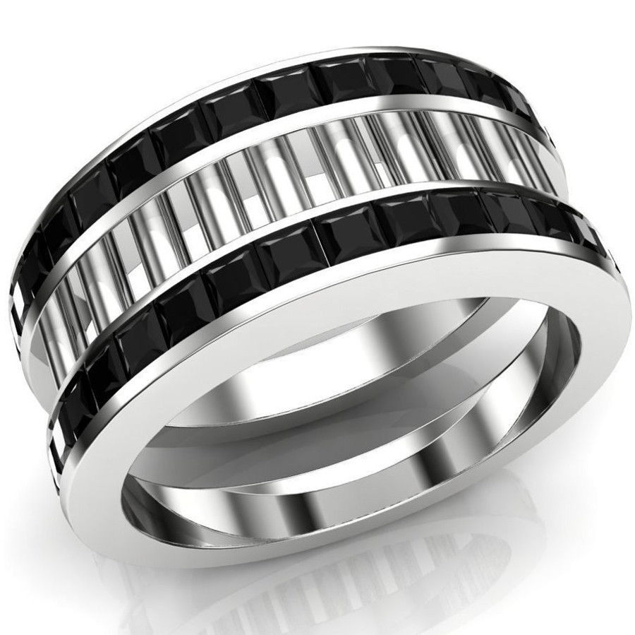 White Collar, Black Tie Ring | Custom Men's Wedding Band