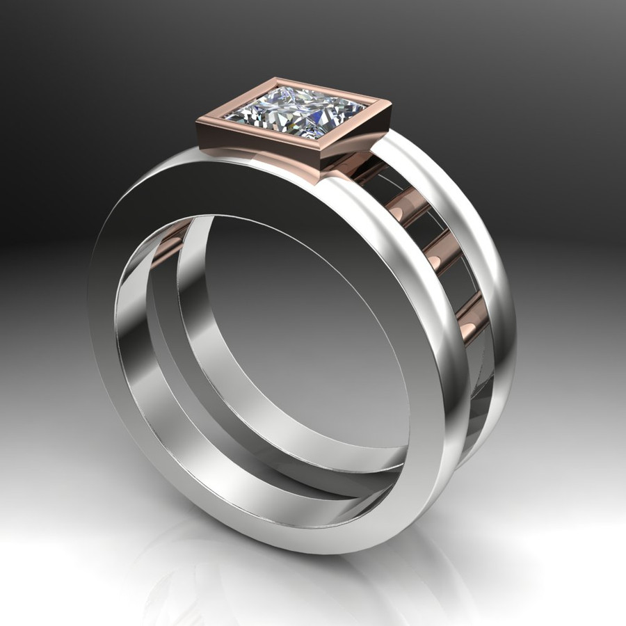 Gay Engagement Ring Dual Band with Moissanite side view