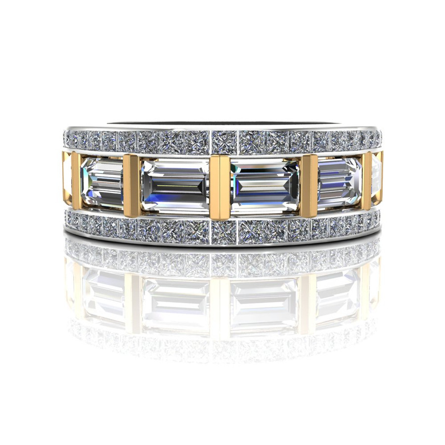 Gay Engagement Ring, Men's Ring with Caged Baguette Diamonds, Two Tone center view