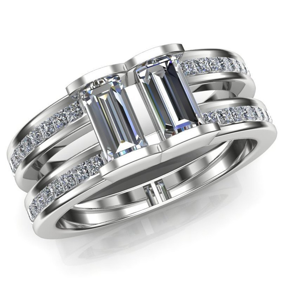 Menu0027s Gay Engagement Ring, Two Stone Diamond Ring Double Band Overhead View
