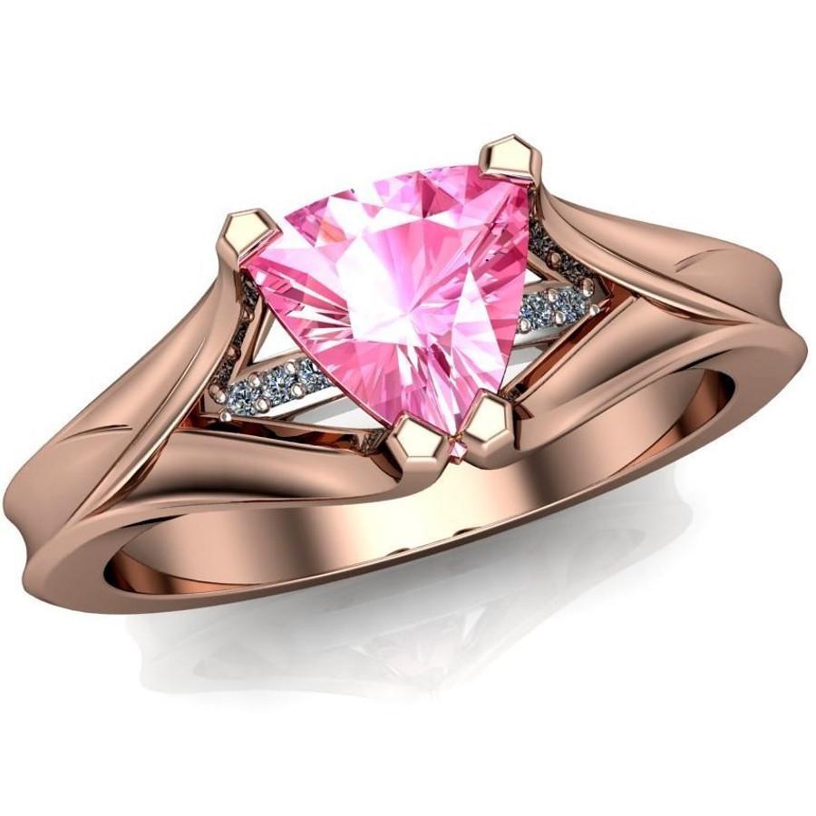 Gemstone Engagement Ring   Trillion 1ct Pink Sapphire