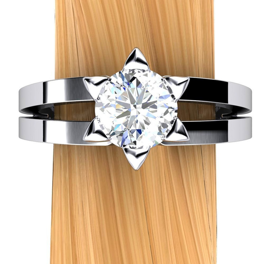 Star of David Engagement Ring   Round 3/4 Carat Diamond
