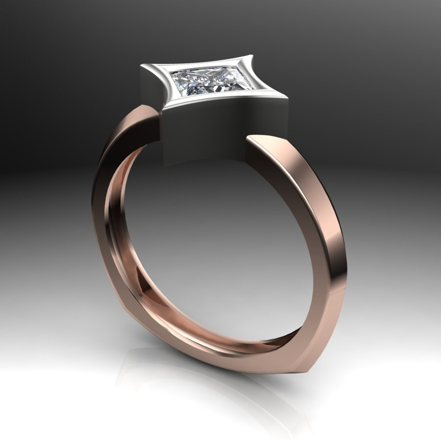 Diamond Engagement Ring | Dramatic Star Bezel Setting angled view