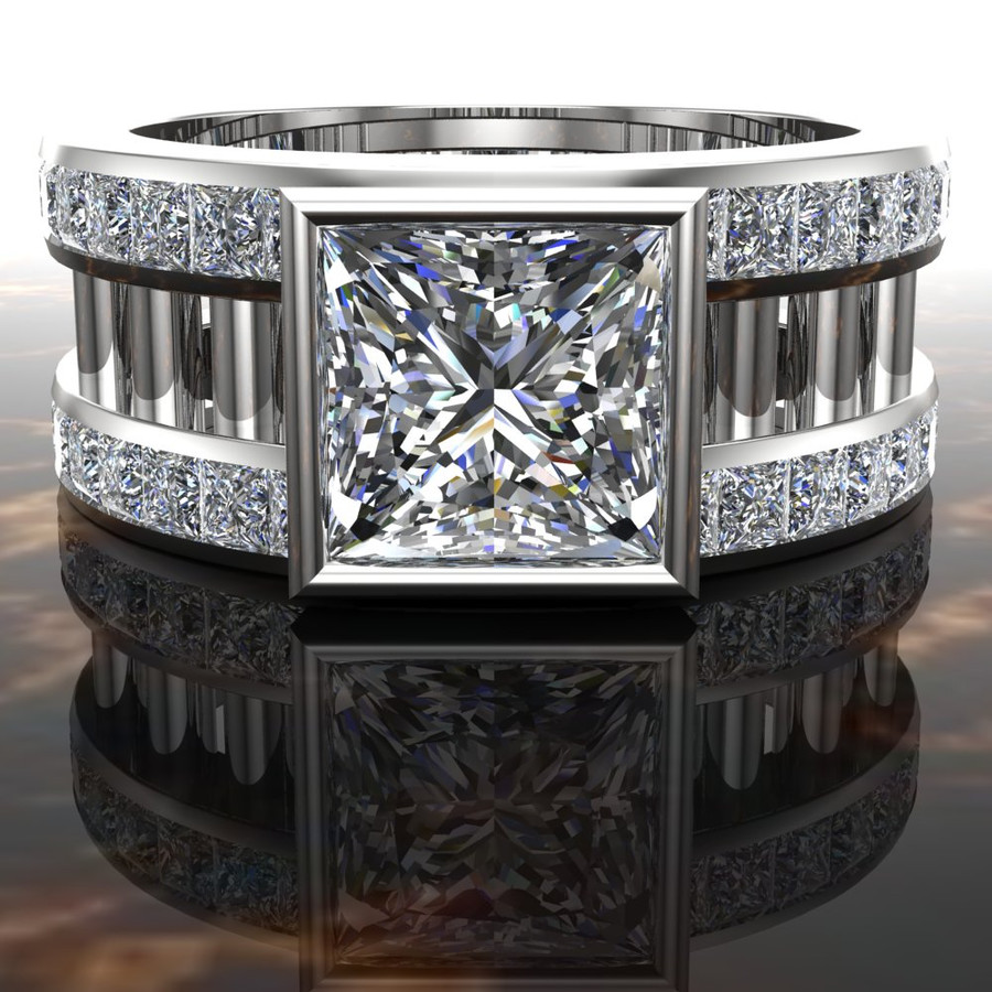 Barred Men's Engagement Ring   Square 2 Carat Diamond