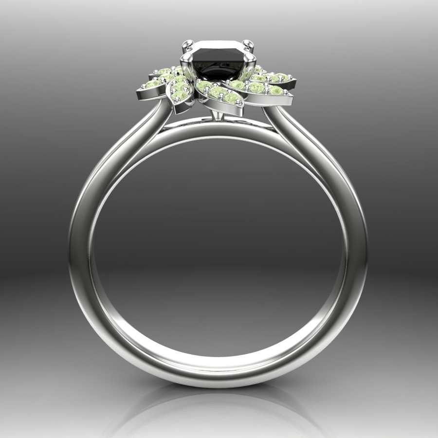 Black Diamond Engagement Ring Halo