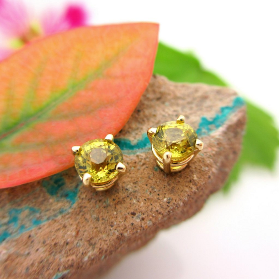 LAYAWAY For S: Mali Garnet Stud Earrings, Greenish Yellow Earrings in Yellow Gold, 5mm