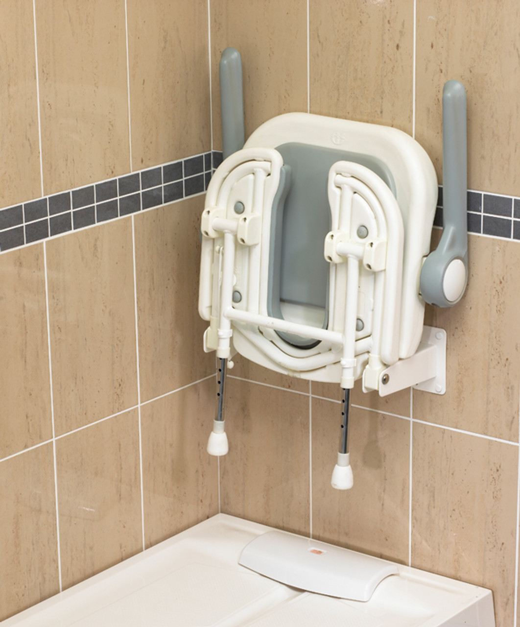 Bariatric wall mount shower seat with hygiene cut out for Bathroom accessories for elderly in india