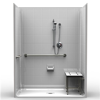 "ADA Roll-In Shower Five Piece 63 X 33 3/4"" Threshold"