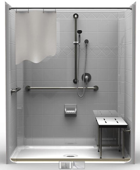 5 Piece ADA Roll-In Shower With Center Drain