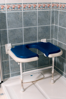 "Deluxe Fold Up Seat With ""U"" Shape Cut-Out Blue Pad"